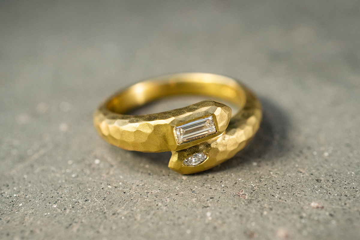 22K Recycled Gold Deconstructed Garland Baguette Ring with Ethically Sourced Diamonds, hammered, yellow, solitaire