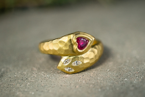 22K Recycled Gold Deconstructed Garland Heart Ring with Ruby and Ethically Sourced Diamonds, colored stone, snake, wrap, petal, hammered