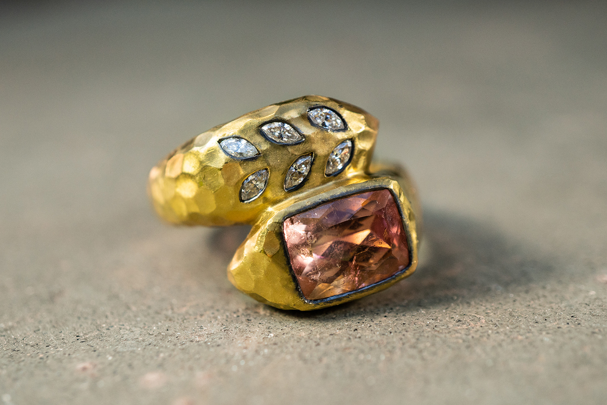 22K Recycled Blackened Gold Deconstructed Garland Ring with Peach Tourmaline and Ethically Sourced Diamonds, colored stone, snake, wrap, leaf, leaves