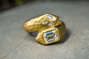 22K Recycled Gold Deconstructed Garland Ring with Ethically Sourced Diamonds, solitaire, yellow, hammered, snake, wrap