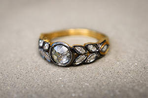 22K Blackened Recycled Gold Small Garland Ring with Ethically Sourced Diamonds, leaf, leaves, solitaire, engagement