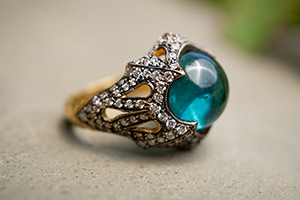 22K Blackened Recycled Gold Column of Tears Ring with Blue Tourmaline and Ethically Sourced Diamonds, colored stone, medieval, cut out, cocktail
