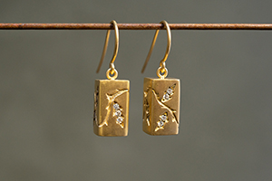 22K Recycled Gold Grow Baby Grow Earrings with Ethically Sourced Diamonds, yellow, vine, leaf, leaves