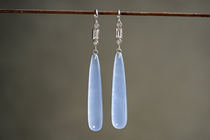 Recycled Platinum Diamond Baguette Earrings with Chalcedony and Ethically Sourced Diamonds, colored stone, dangling