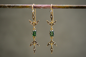 22K Recycled Blackened Gold Flex Lyrical Wheat Earrings with Green Tourmaline and Ethically Sourced Diamonds, leaf, leaves, inspired by nature, colored stone, dangling