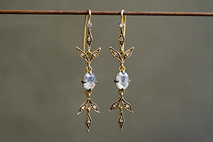 22K Recycled Blackened Gold Flex Lyrical Wheat Earrings with Ethically Sourced Rustic and White Diamonds, leaf, leaves, inspired by nature, dangling