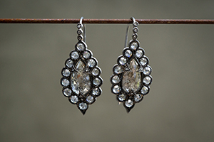 Recycled Blackened Platinum Scalloped Frame Pear Shaped Earrings with Ethically Sourced Rustic Diamonds, rustic