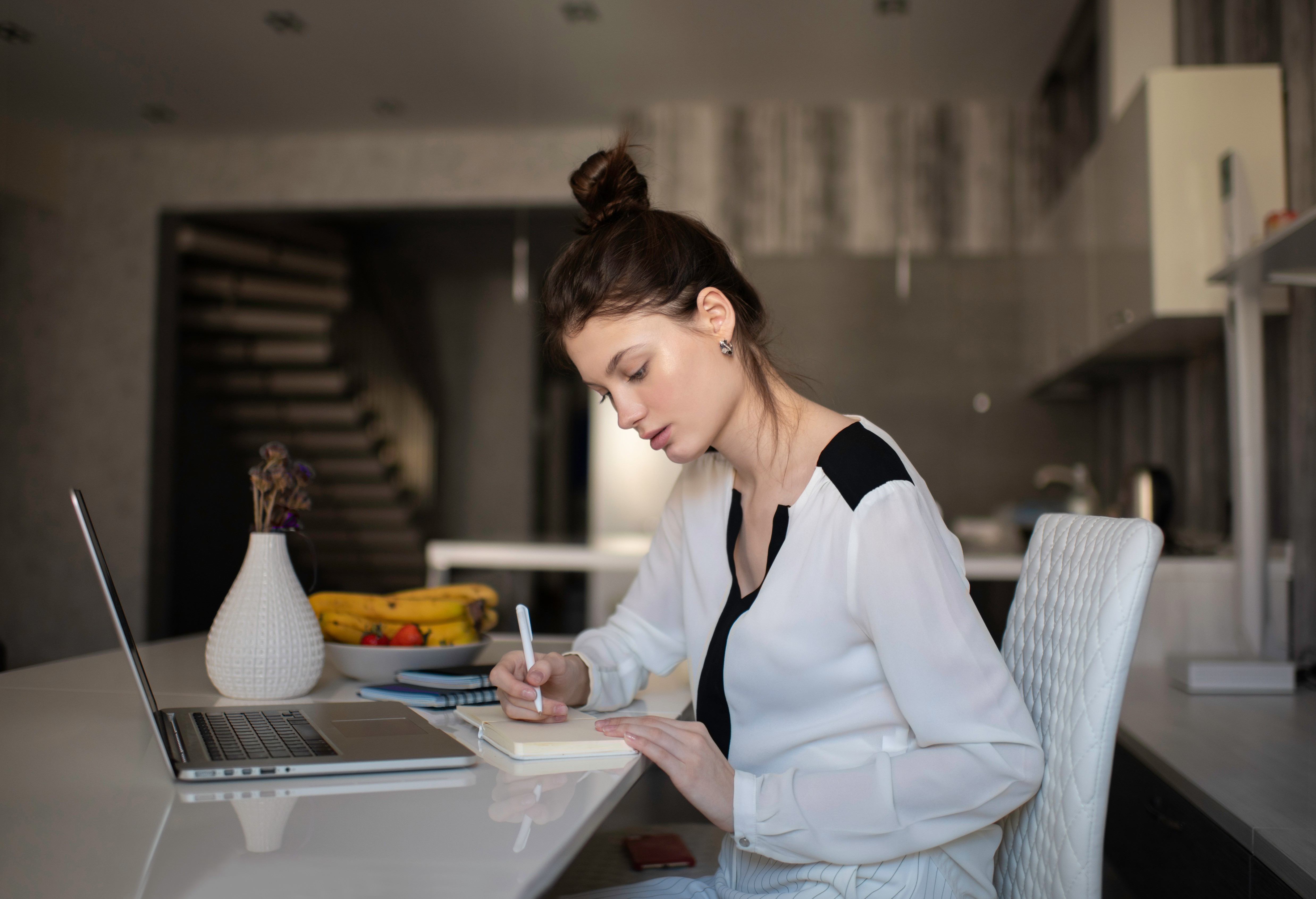 Women working from her studio office at home