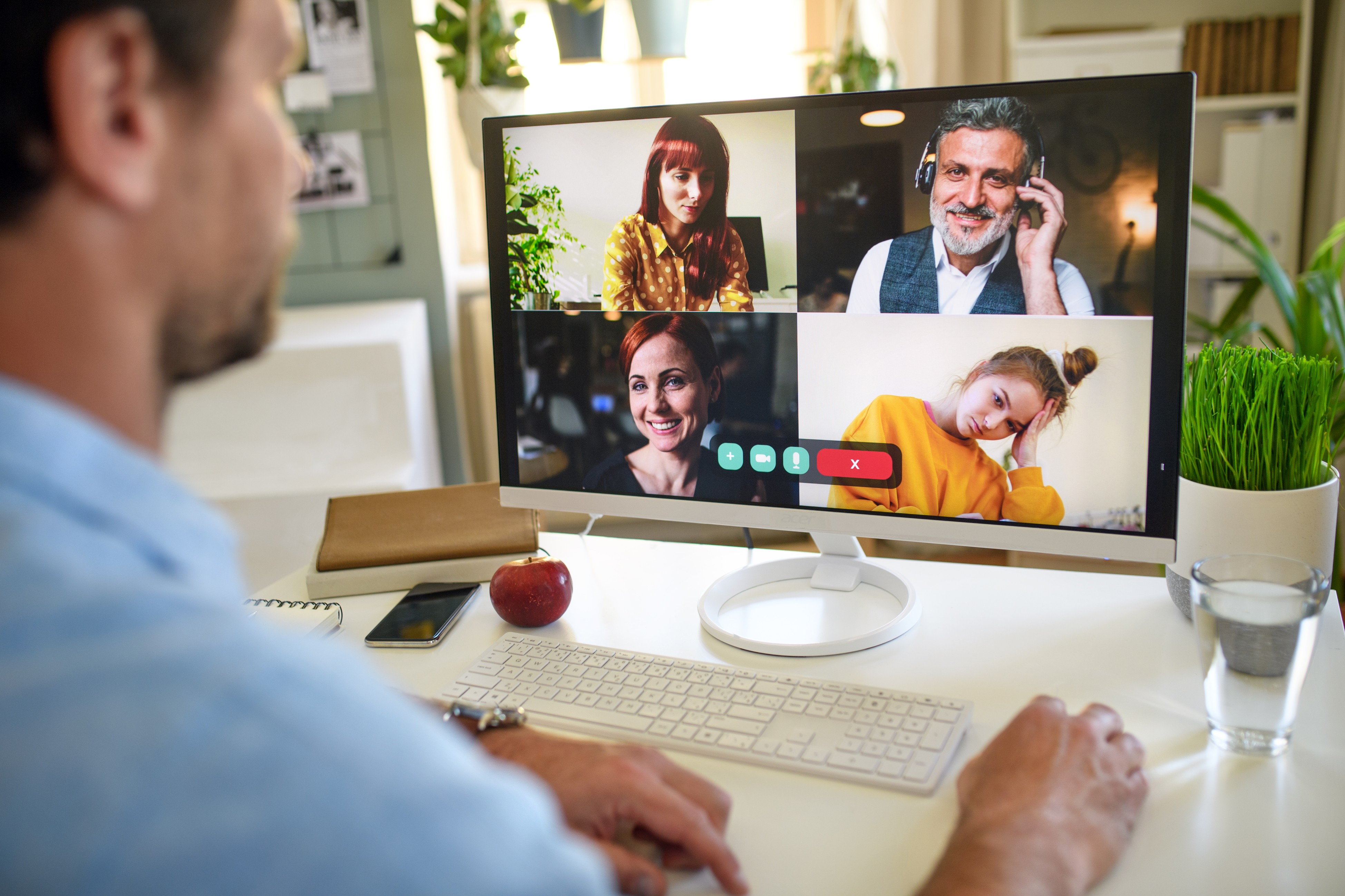 unrecognizable man having video call on computer