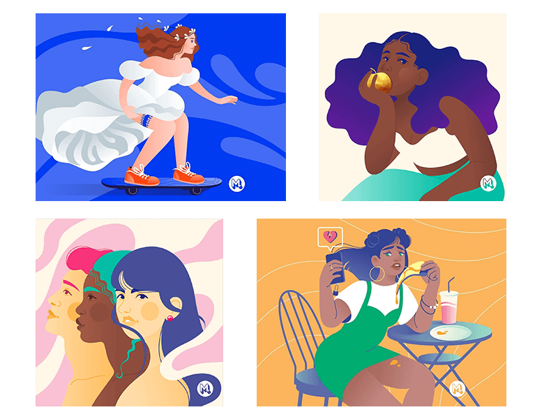 maddy girls colorful illustration