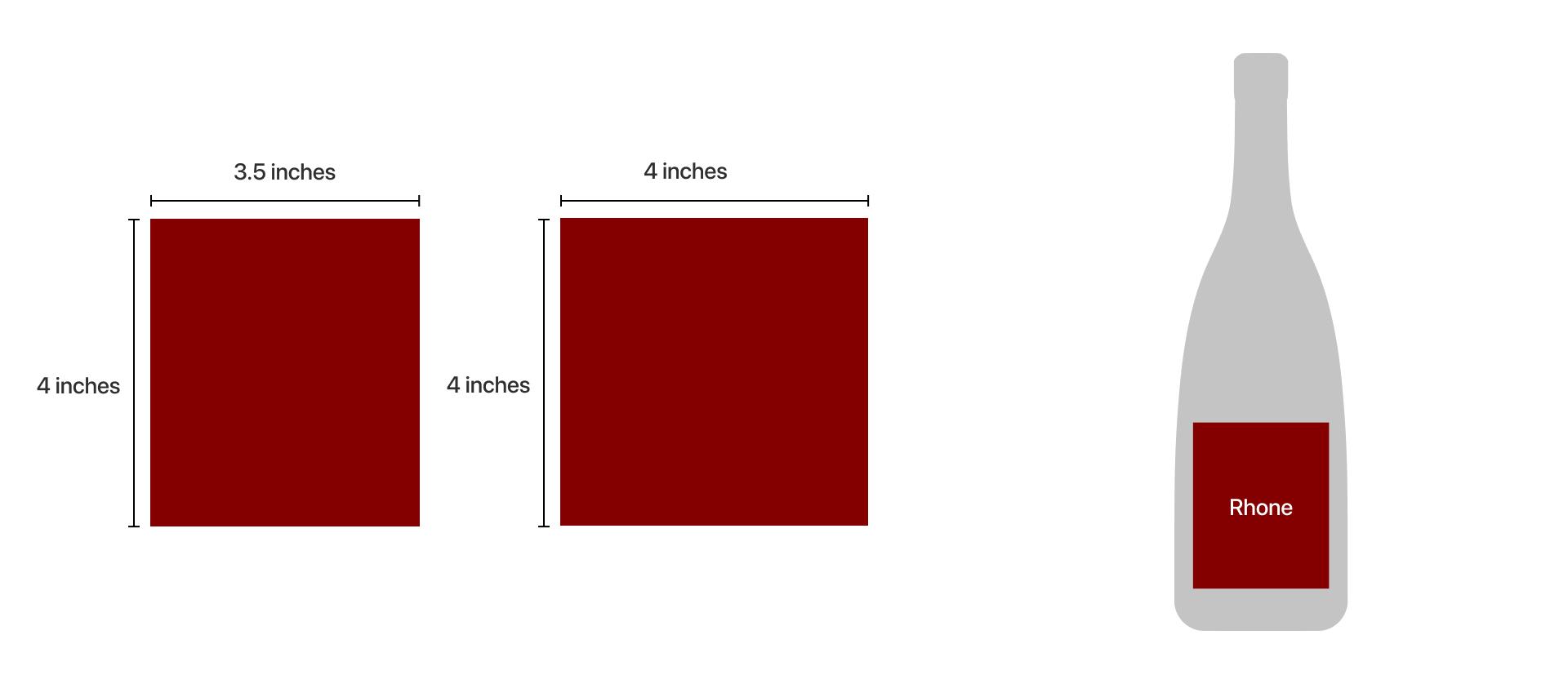 Rhone bottle label dimension size