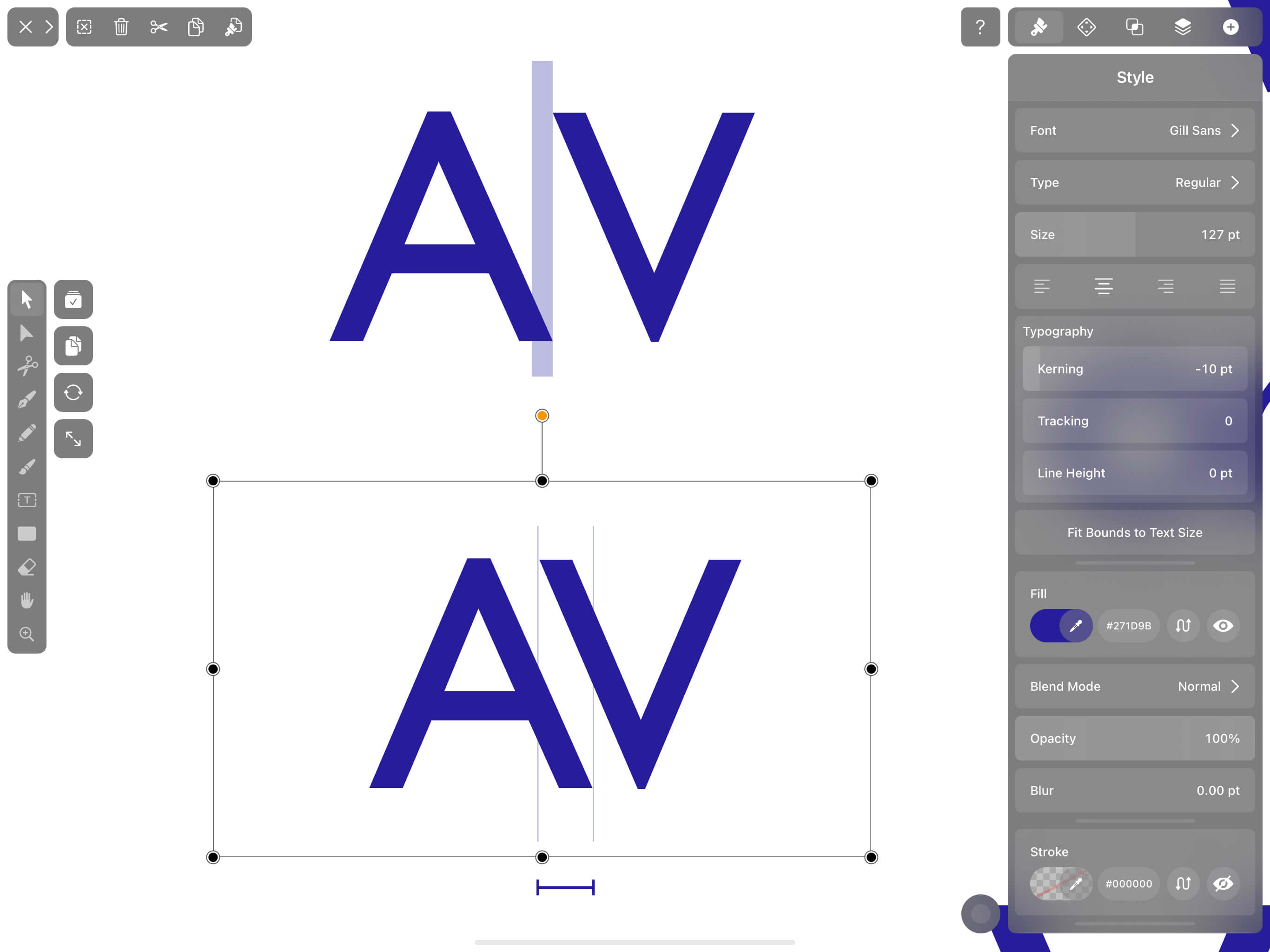 the kerning pair A and V