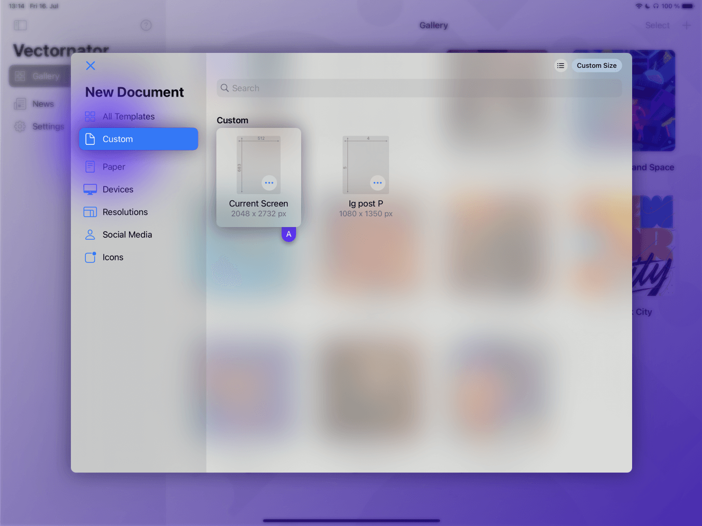 Custom Document Template Vectornator