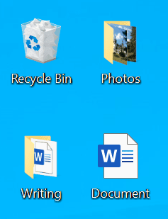 Use of physical objects in digital design: recycle bin, files, and folders