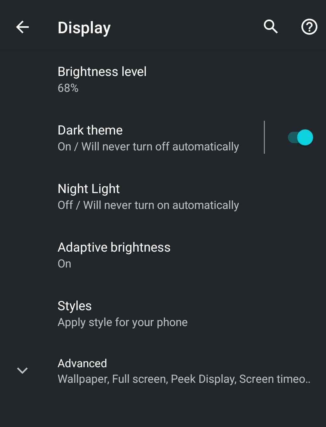 Turning on dark mode in Android