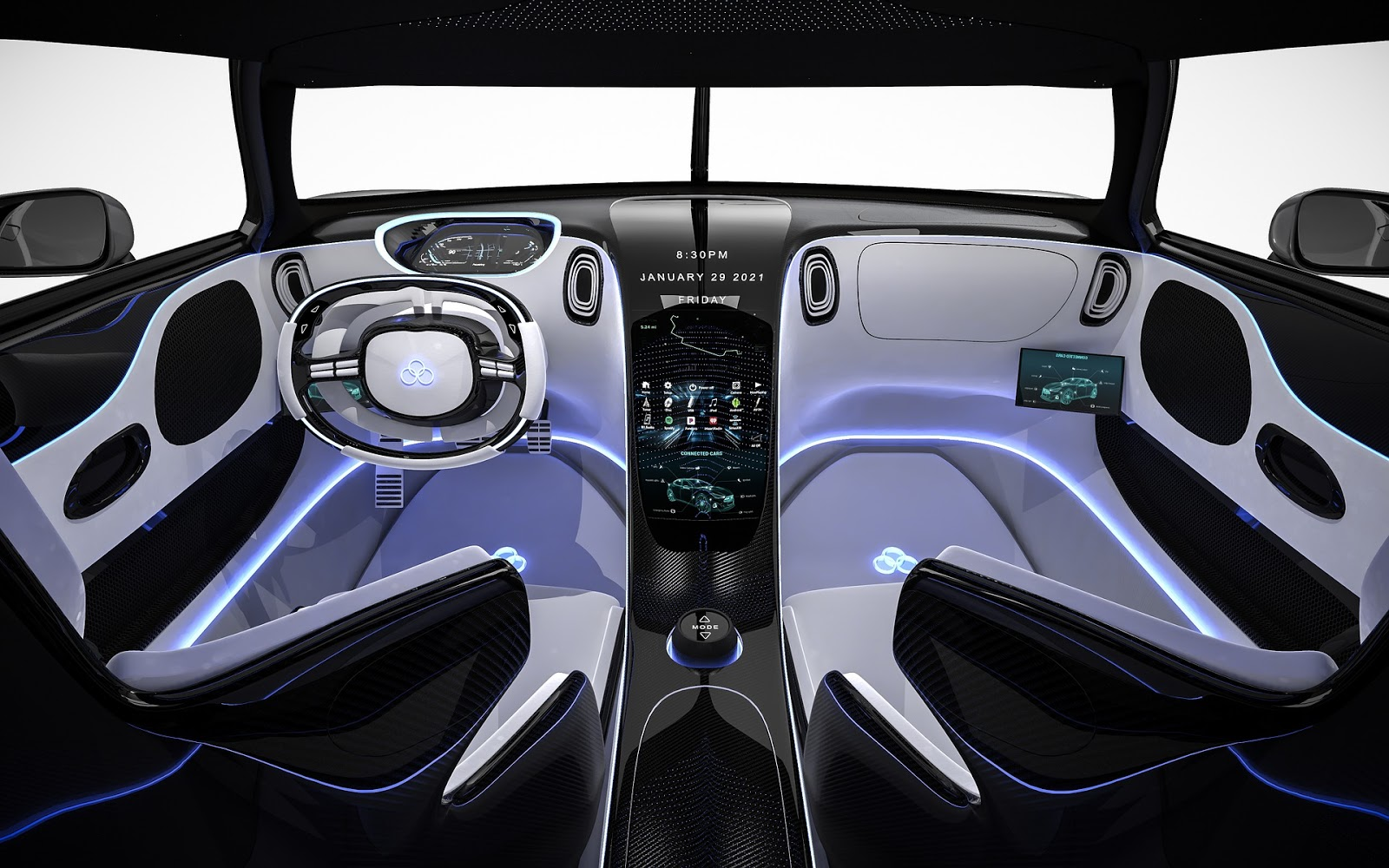 Dark imagery and luxury: black sports car interior