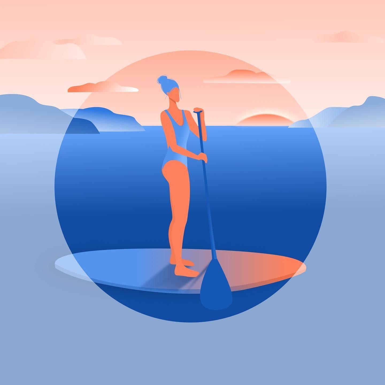 vector art sup ocean swimming girl