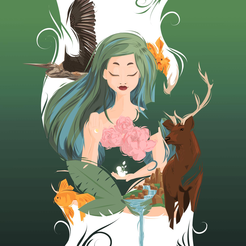 vector art woman nature animals green