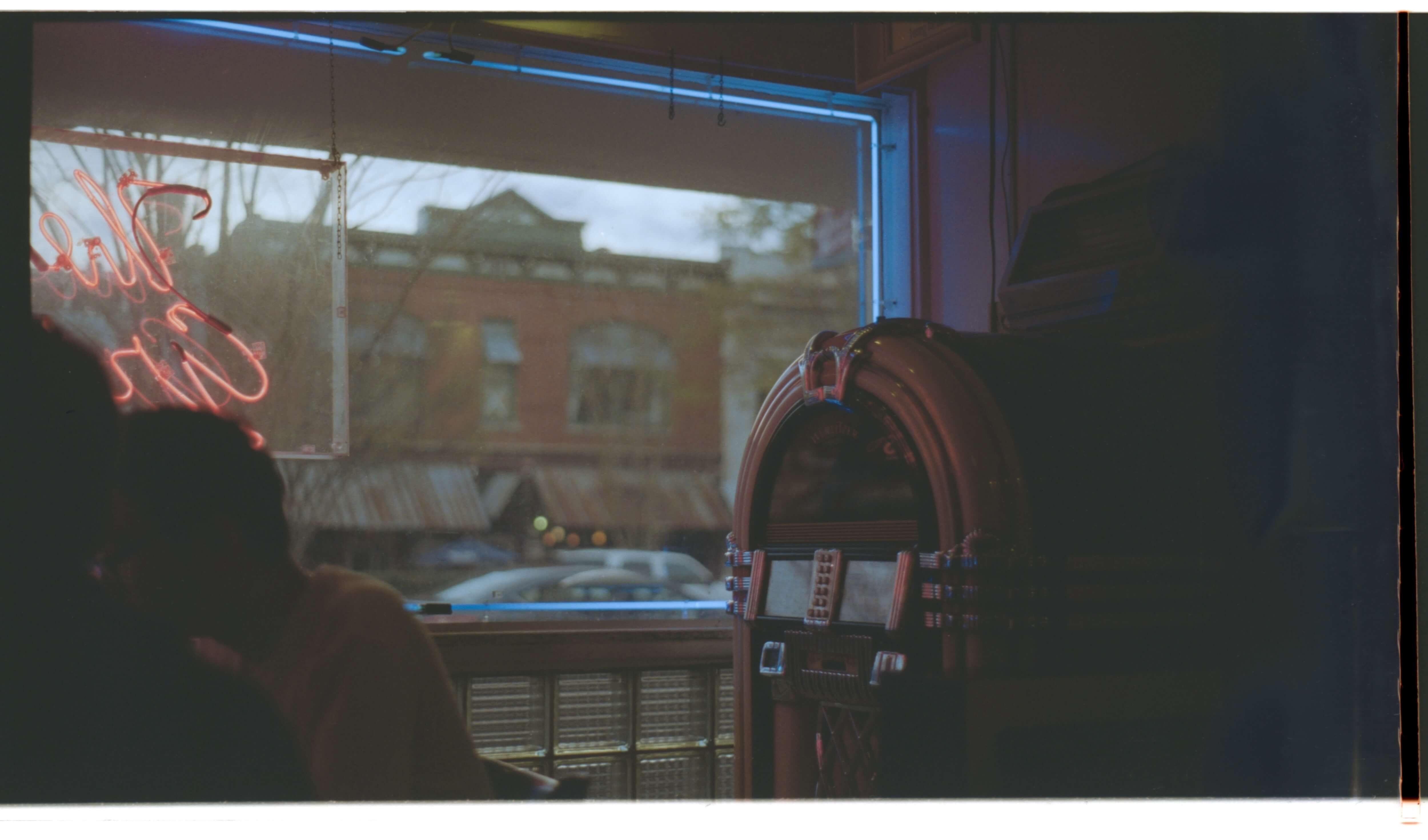 dark cafe with jukebox