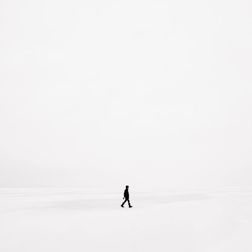Man in silhouette walking with whitespace or negative space backdrop