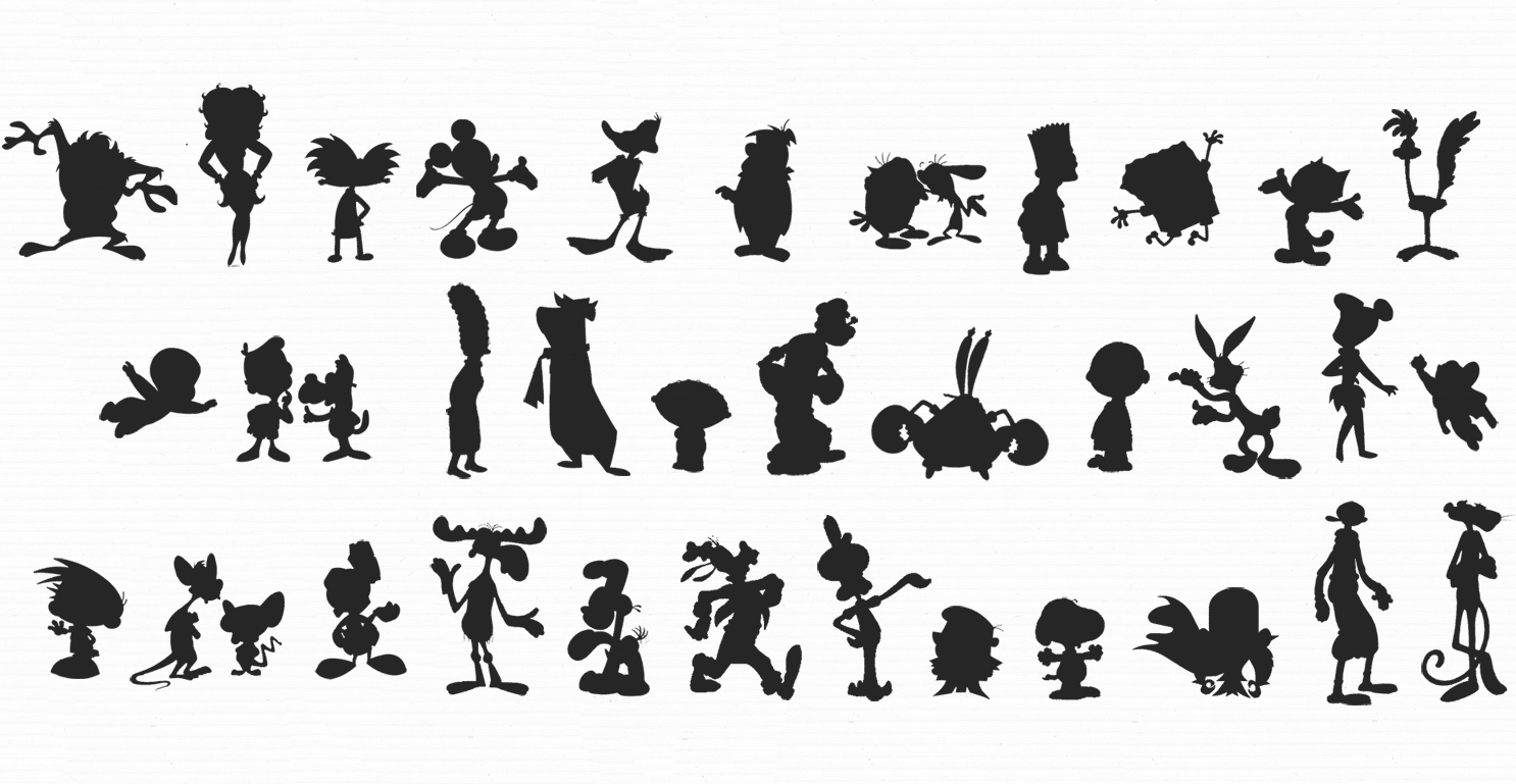 different silhouettes of famous cartoon characters