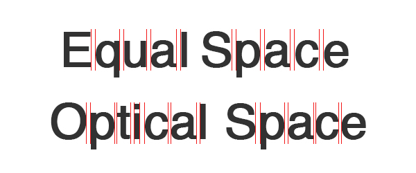 Showing the difference between equal and optical space in kerning the same two words