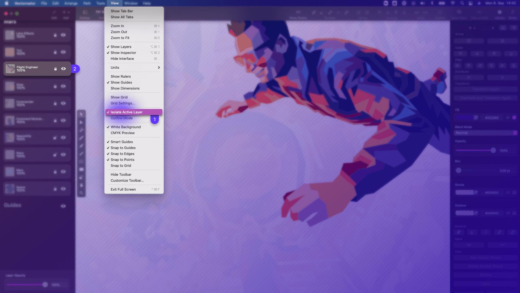 Isolate active layer in Vectornator Mac