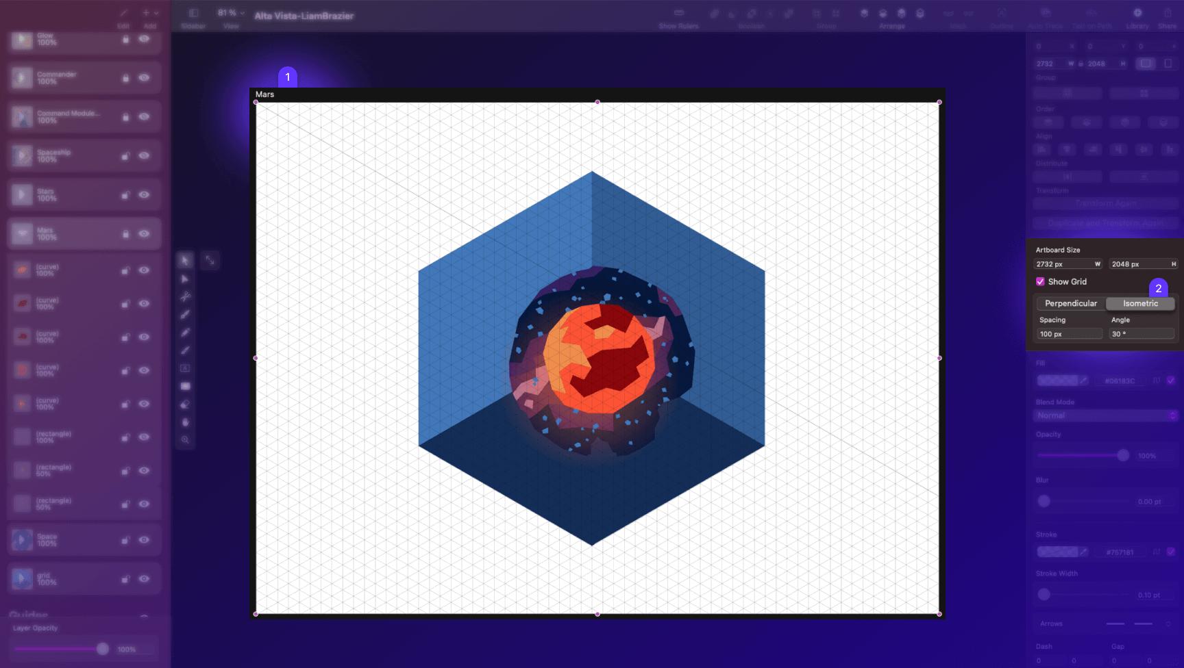 isometric grid Vectornator mac app