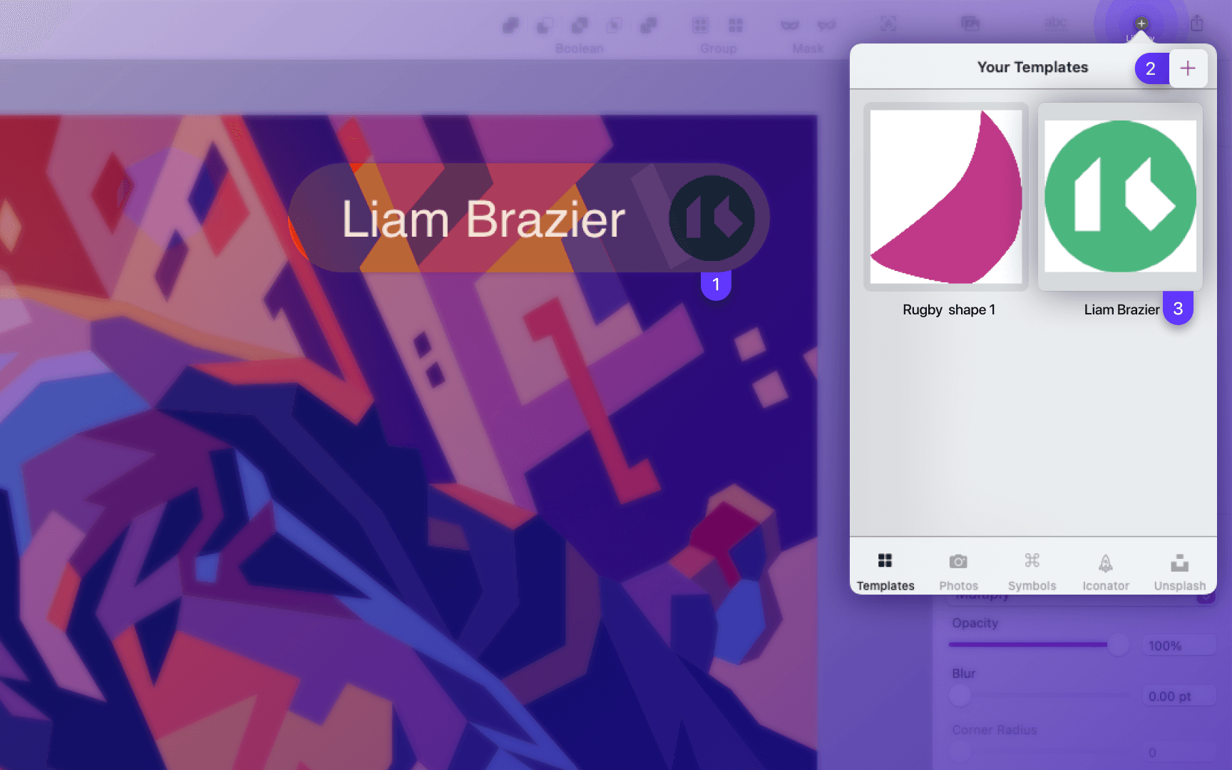 how to use templates in Vectornator Mac App