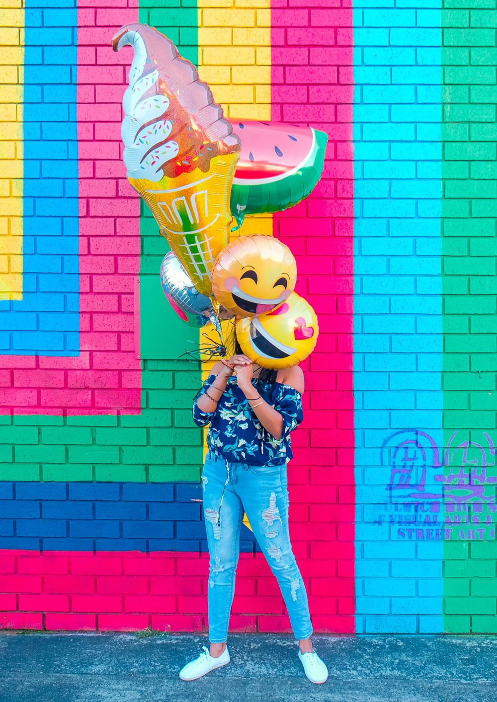 Girl With Balloons Colorful Brick Background