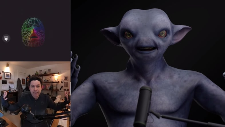 Side by side of a real-time face capture stream from Rokoko Studio to Blender using a custom character