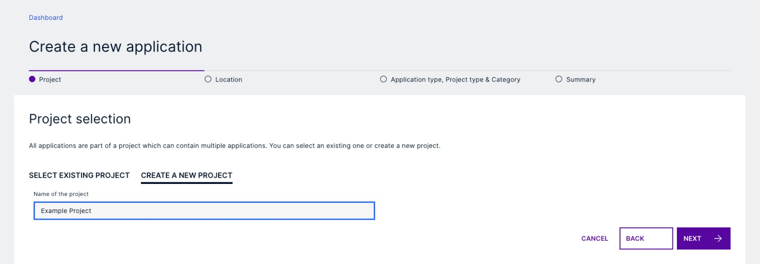 Creating a new application project in Cloudpermit.