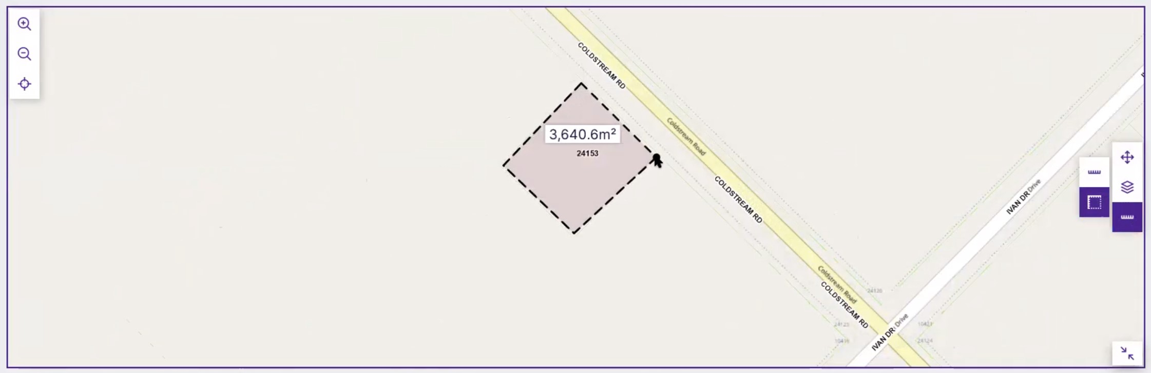 View of using a measuring tool directly on a map to draw and determine the size of a property or other areas.