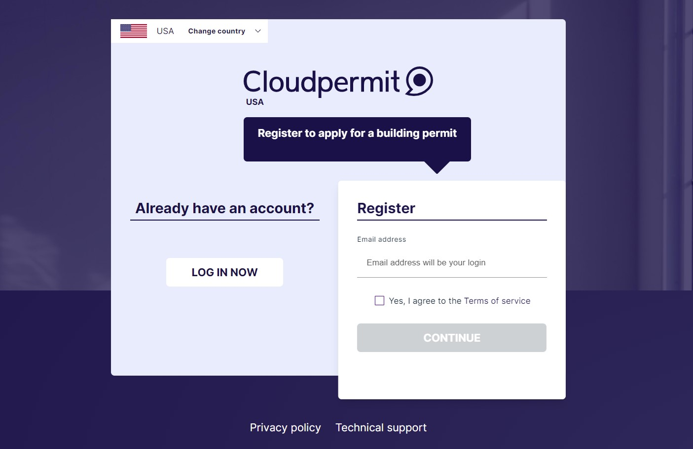 View of Cloudpermits registration page.