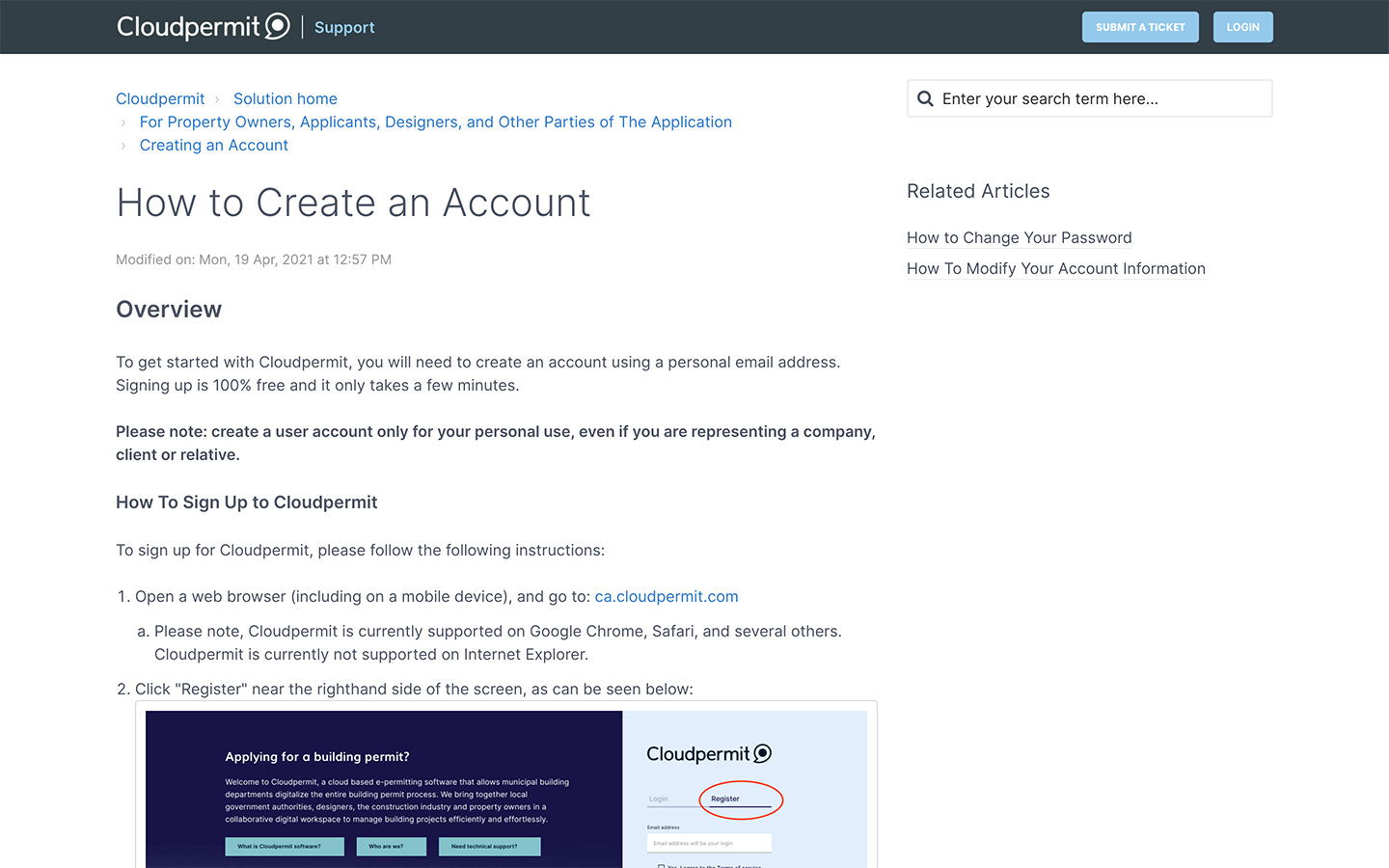 View of Cloudpermits online support portal showing support article on how to create an account.
