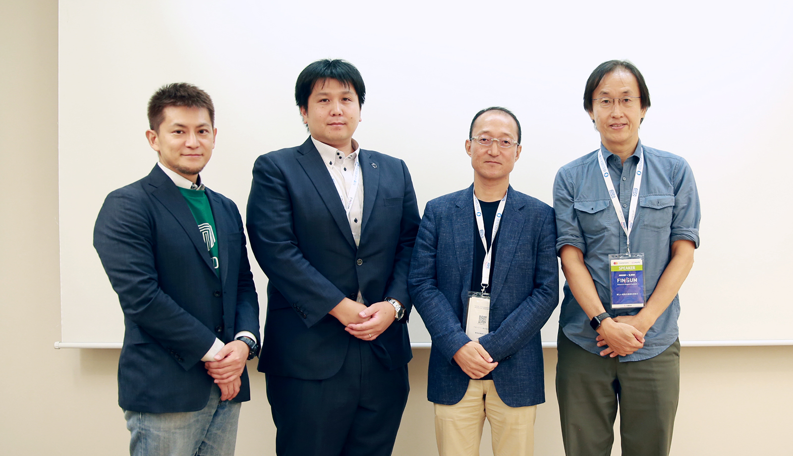 Moneytree's Taizo Miyagami with TRUSTDOCK CEO, Chiba and TRUSTe's  Director / Secretary General Saito with the moderator, technology writer, Ootani