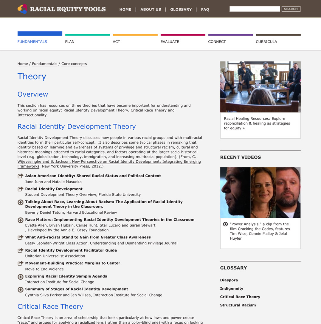 Racial Equity Tools' Theory Section