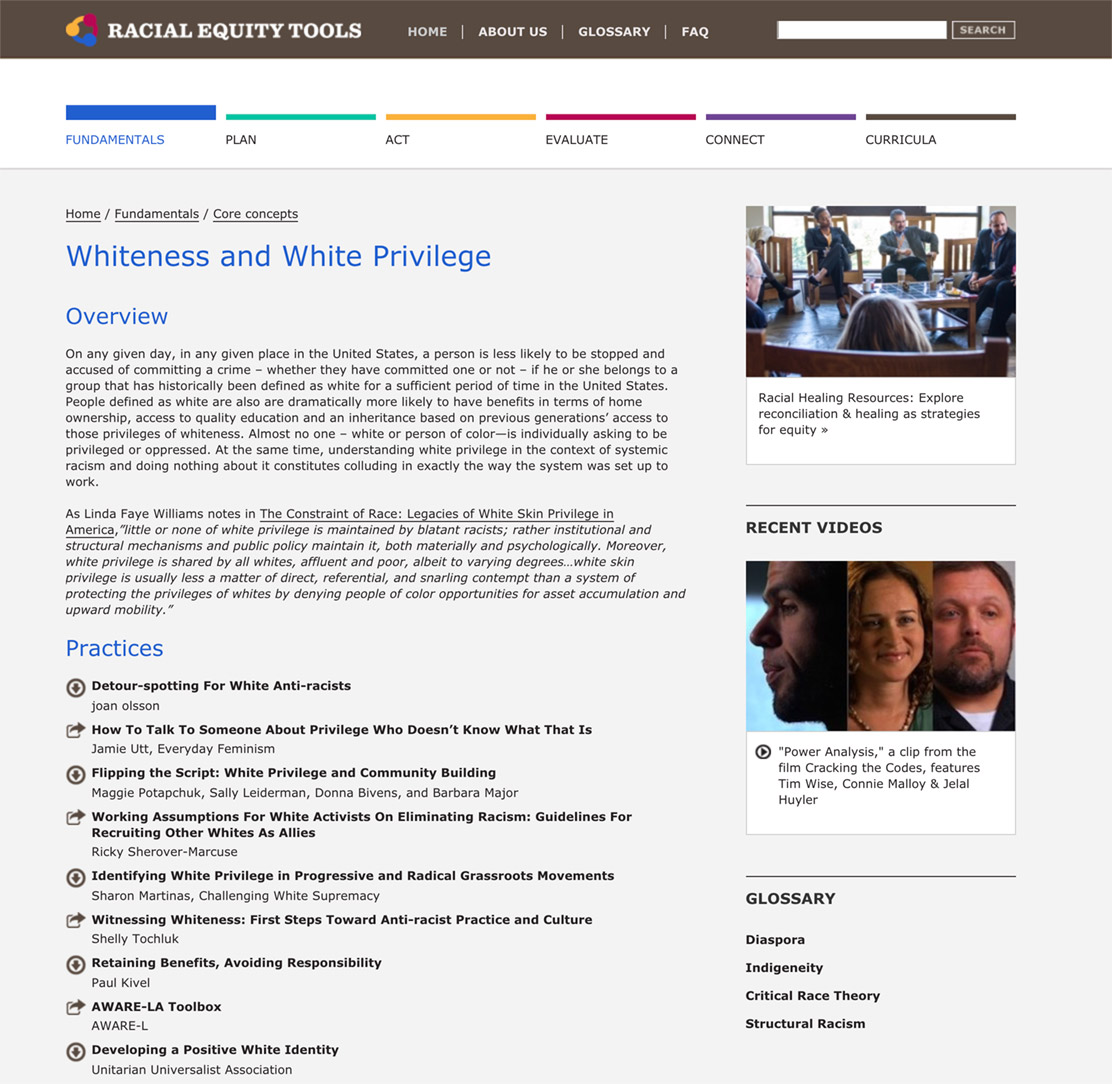 Racial Equity Tools' Whiteness and White Privilege Section