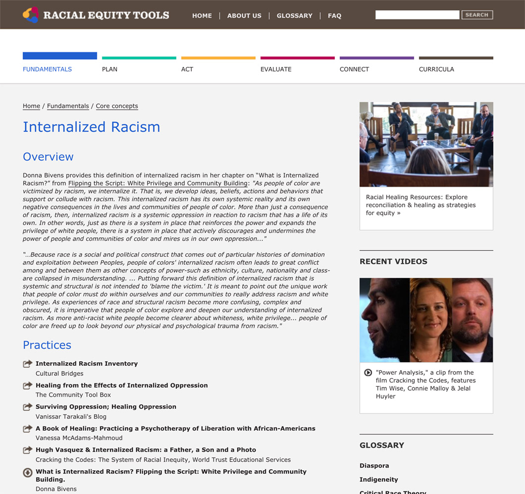 Racial Equity Tools' Racism Section