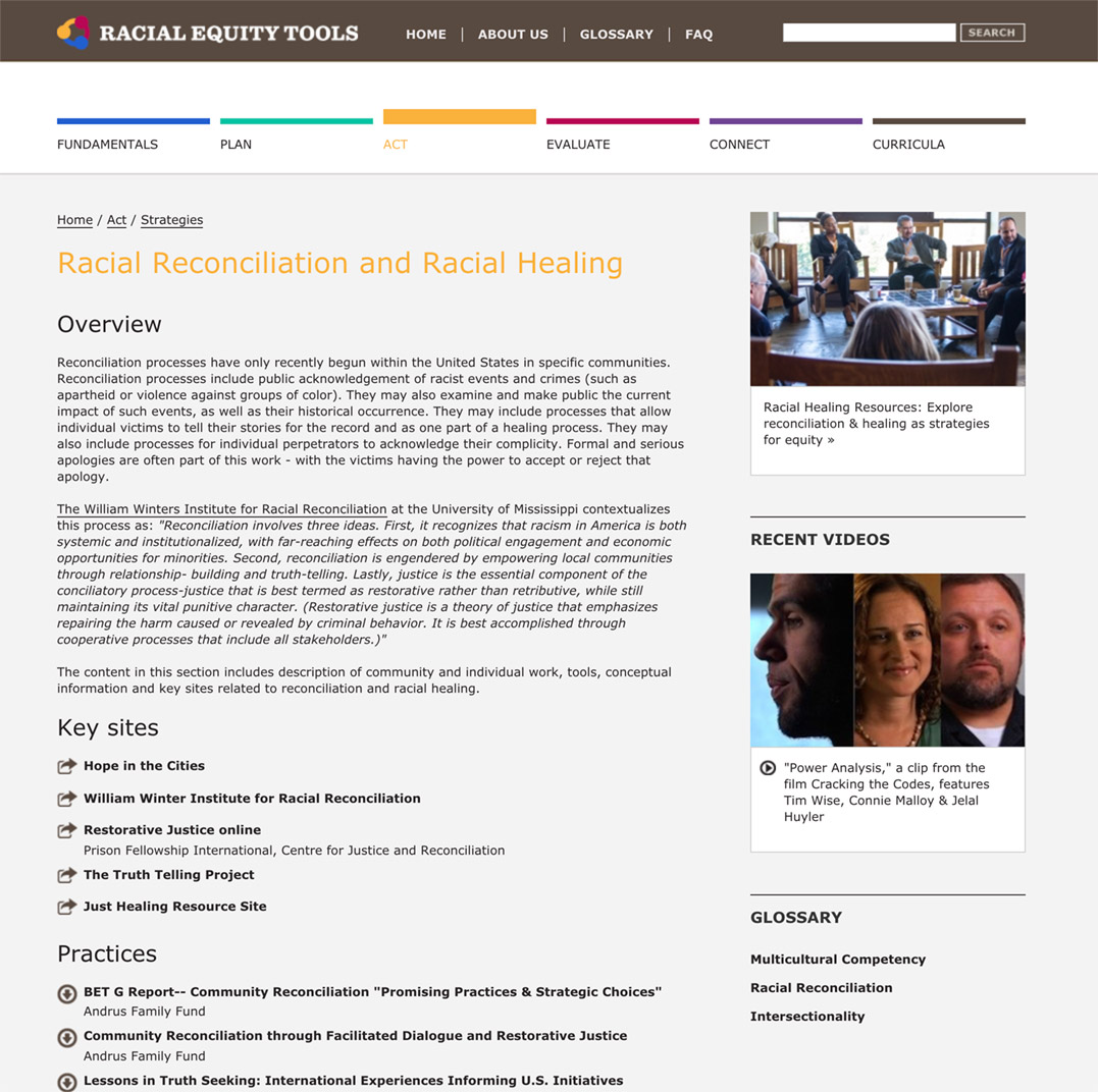 Racial Equity Tools' Racial Reconciliation and Racial Healing Section