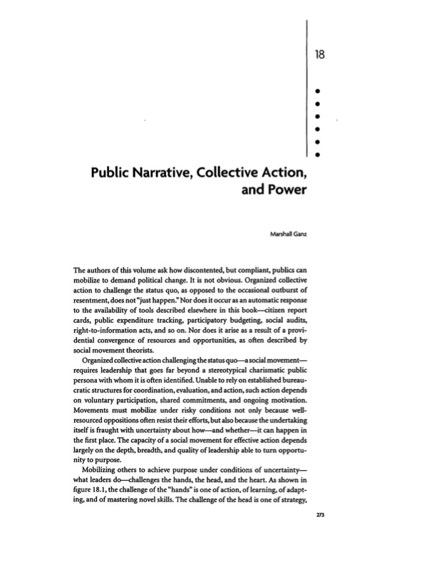 Public Narrative, Collective Action, and Power