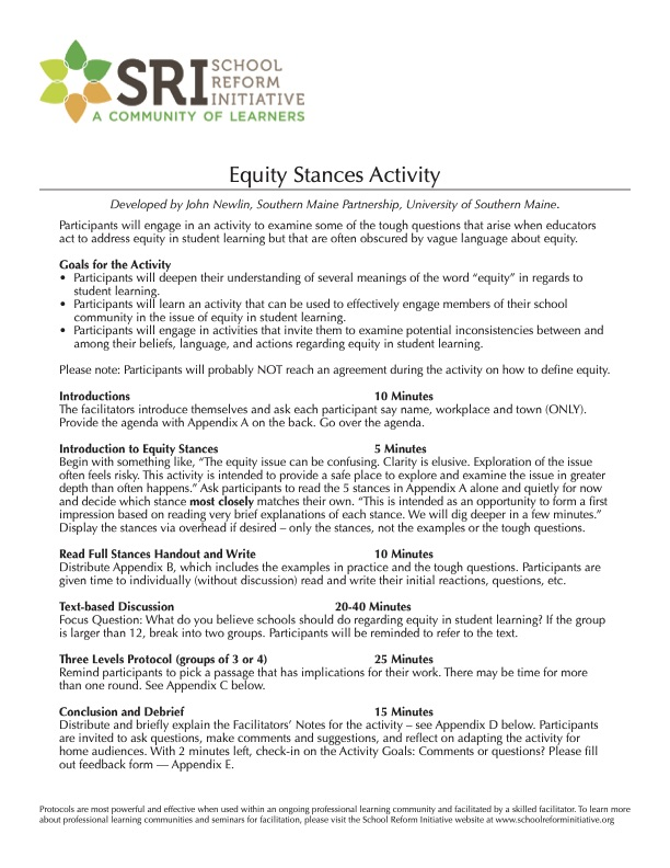 Equity Stances Activity