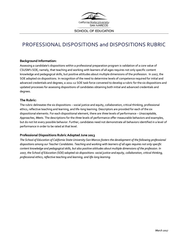 Professional Disposition and Dispositions Rubric