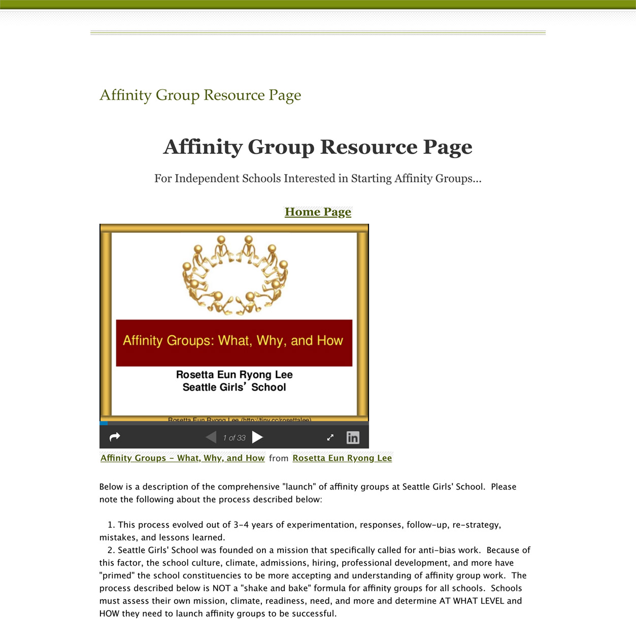 Affinity Group Resource Page
