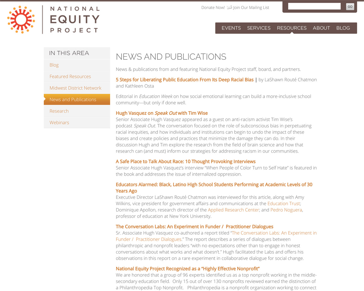 National Equity Project Resources