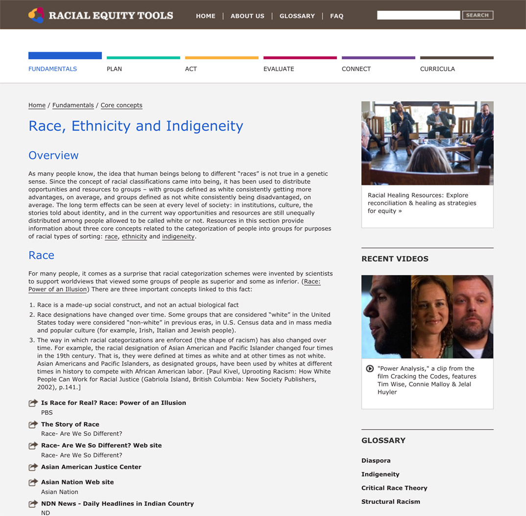 Racial Equity Tools' Race, Ethnicity and Indigeneity Section