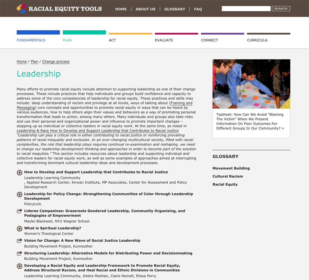 Racial Equity Tools' Leadership Section