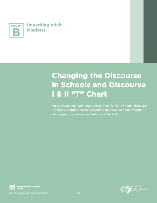 """Changing the Discourse in Schools and Discourse I & II """"T"""" Chart"""