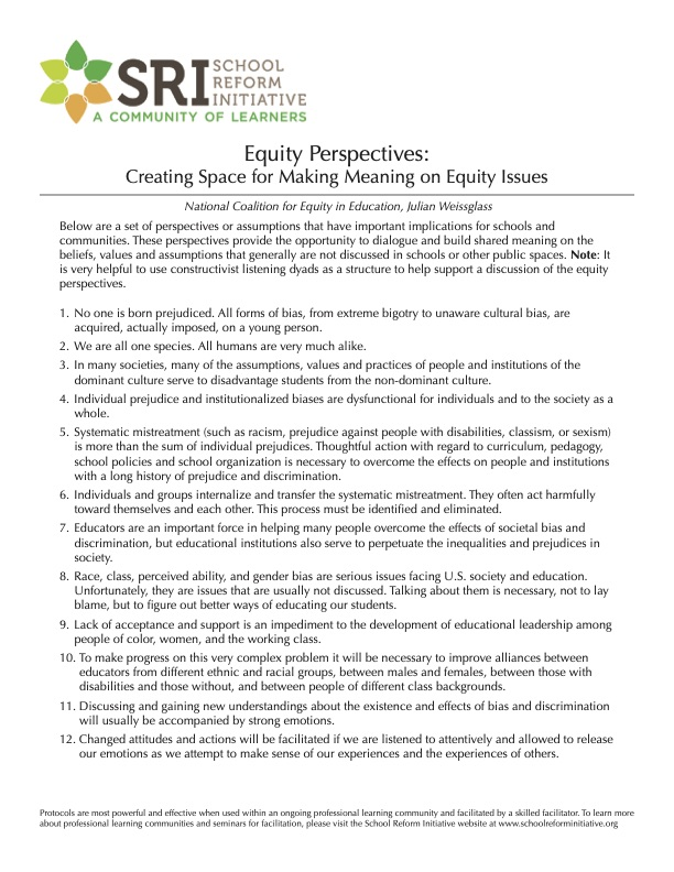 Equity Perspectives: Creating Space for Making Meaning on Equity Issues
