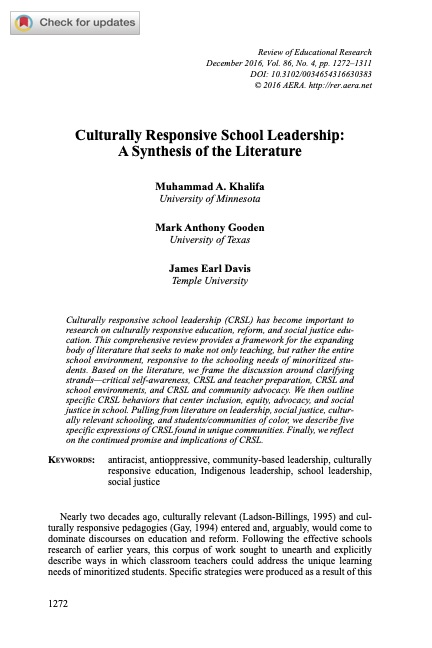 Culturally Responsive School Leadership: A Synthesis of the Literature